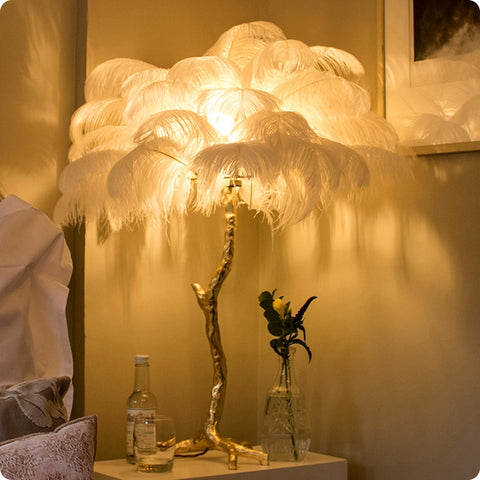 Standing Tree Feather Table Lamp