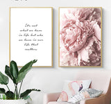 Peony and Life Quote Poster