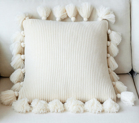 Knitted Tassel Cushion Cover