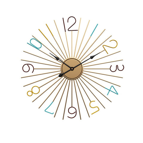 Golden Sunburst Wall Clock