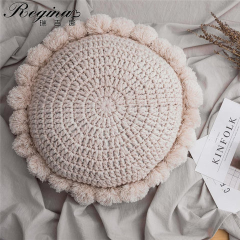 Knitted Sunflower Pompoms Cushion