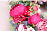 Red Peonies Wreath Front Door Decor