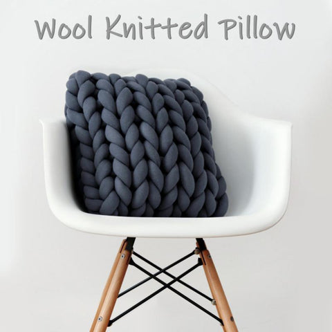 Chunky Wool Knitted Pillow