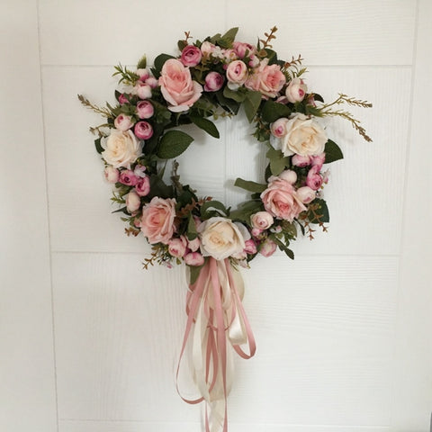 Peony & Rose Wreath Wall Door Hanging Decoration