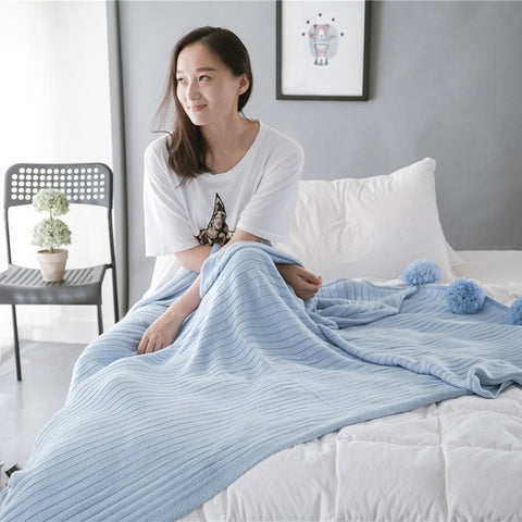 Soft Cotton Pompom Blanket