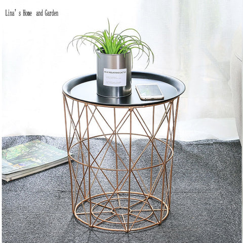 Rose Gold Round Wire Side Table Storage Basket