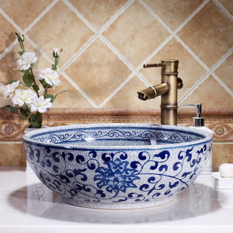 Hand Painted Blue And White Porcelain Bathroom Sink