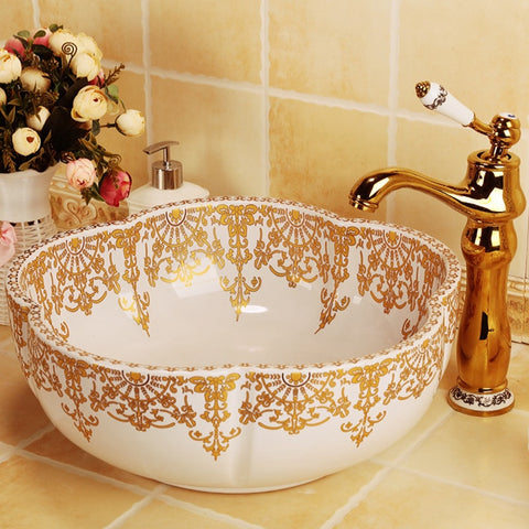 Flower shape gold decorated porcelain bathroom sinks