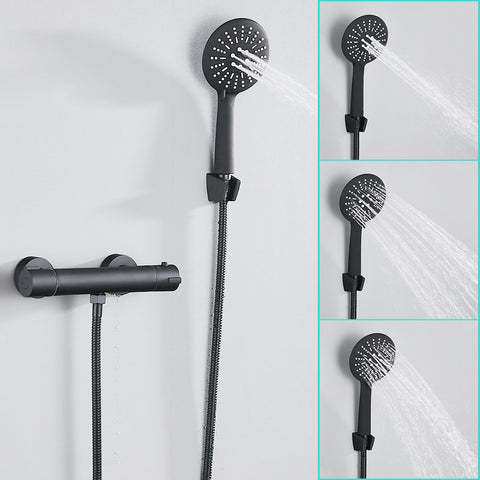 Bathroom Rainfall Black Shower Faucet Set