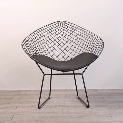 Bertoia Style Diamond White Wire Chair