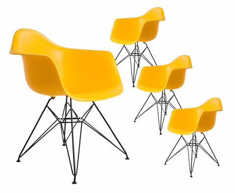 Mid Century Modern Chair Set with Wire Eiffel Legs (4PCS)