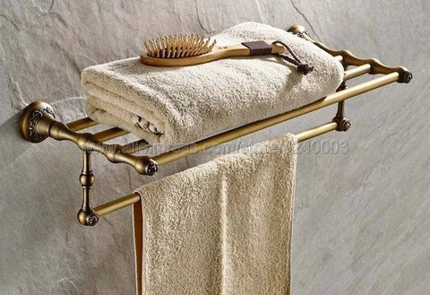 Antique Brass Bathroom Towel Holder