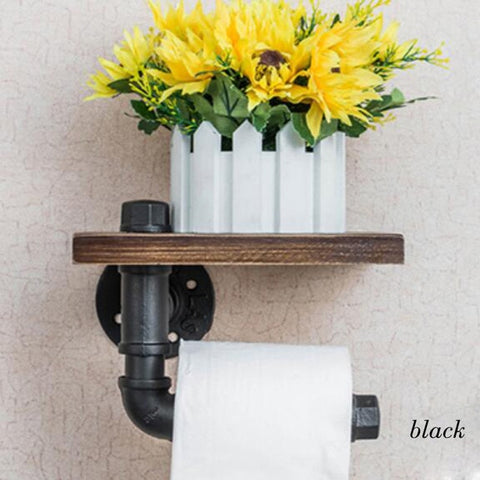 Pipe Toilet Paper Holder with Shelf