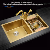 Golden Stainless Steel Double Bowl  Kitchen Sink 1.2mm gold