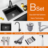 Nanometer Technology Black Stainless Steel Kitchen Sink