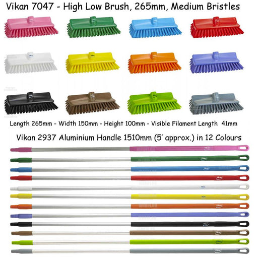 Vikan High-Low Brush / Broom, Medium Bristles 70471 to 704788, Optional Matching Pole 29371 - 293788