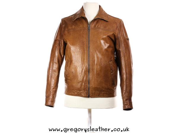 Cognac Leather Zip Jacket by Trapper