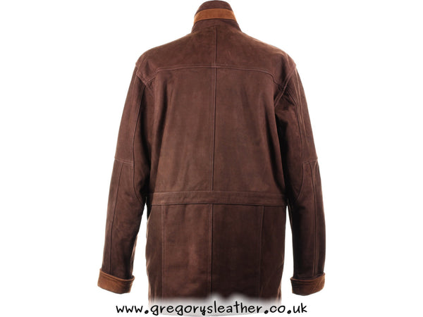 M/40 Brown/Tan Nubuck Leather Coat by Ashwood