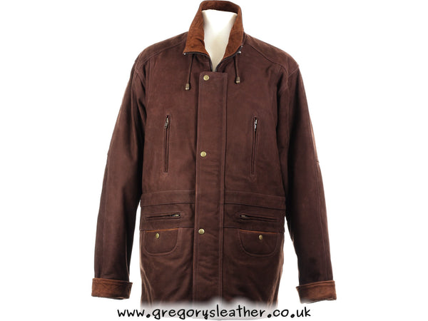 Brown/Tan Nubuck Leather Coat by Ashwood