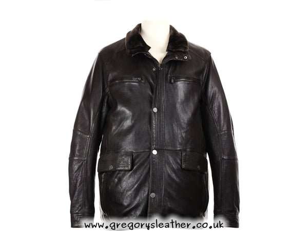 Dark Brown Leather Jacket Fur Collar 3/4 Length by Trapper