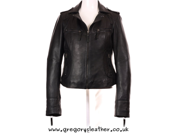 S/10 Black Vintage Leather Jacket by Ashwood