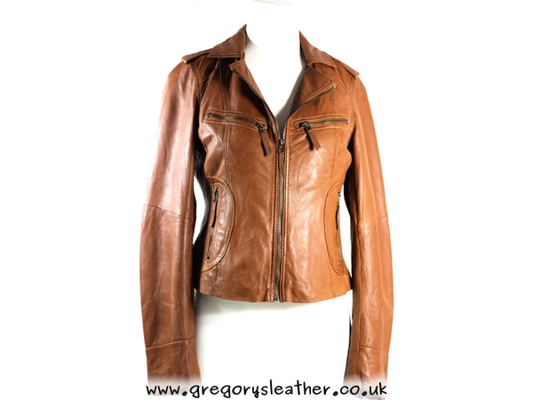 S/10 Tan Vintage Leather Jacket by Ashwood