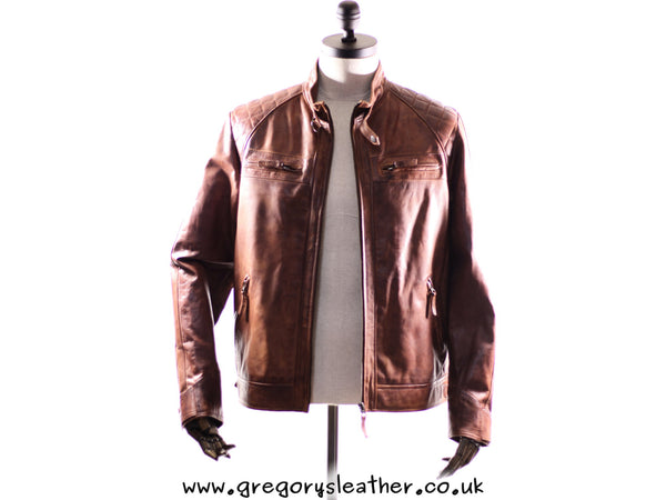 Tan Vintage Leather Mens Jacket by Ashwood