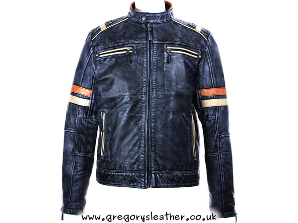 Snowy Black Blue Leather Mens Biker Distressed by Ashwood