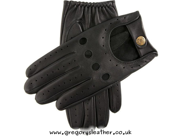 Black Delta Classic Leather Driving Gloves by Dents
