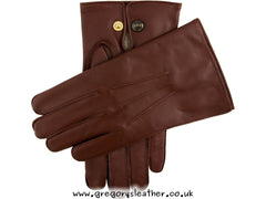 English Tan Mendip Wool Lined Leather Officers Gloves by Dents