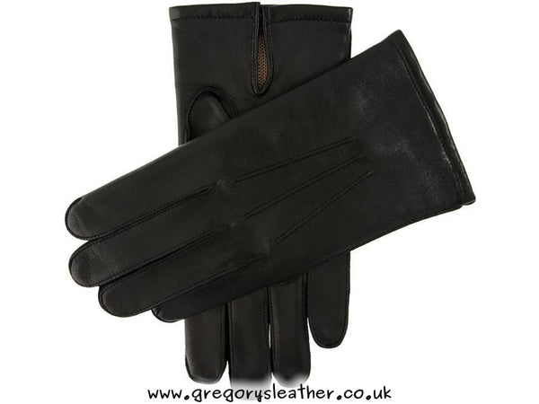 9 Black Smooth Leather Warm Lined Gloves by Dents