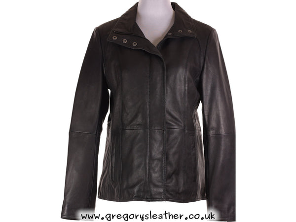 M/12 Black Leather Coat by Ashwood