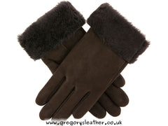 Brown Louisa Women's Sheepskin Gloves With Turnback Cuffs by Dents