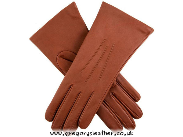 7 Cognac Cashmere Lined Leather Gloves by Dents