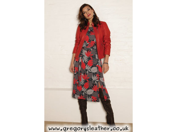 Red/Multi Leaf midi dress by Pomodoro