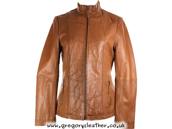 M/12 Tan Leather Longer Length Jacket by Ashwood