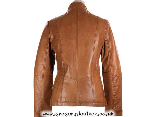 Tan Leather Longer Length Jacket by Ashwood