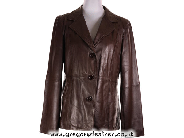 M/12 Brown Ladies Button Jacket by Ashwood