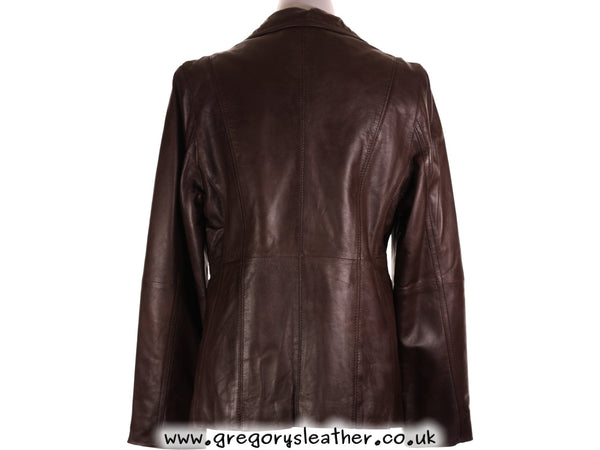 Mid Brown Ladies Button Jacket by Ashwood