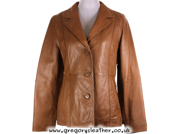 M/12 Tan Ladies Button Jacket by Ashwood
