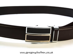 Brown - Double Bar Automatic Leather Belt No Holes Quick Fasten by Artamis
