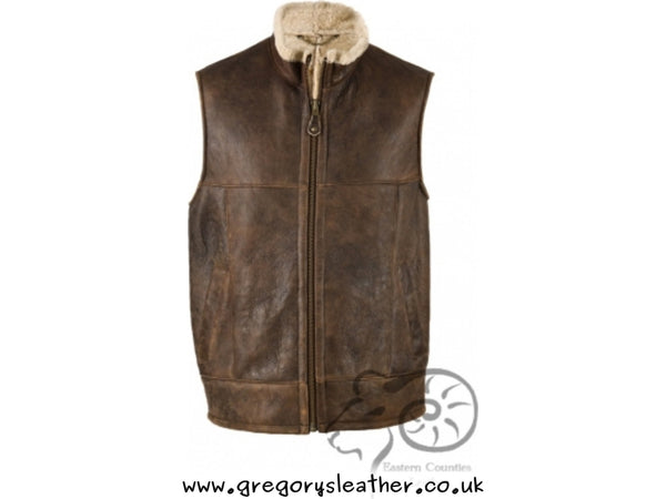 Choc. Forest Men's Aviator Sheepskin Gillet by Eastern Counties