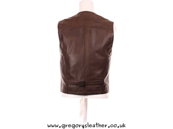 Medium Brown Leather Waist Coat by Ashwood