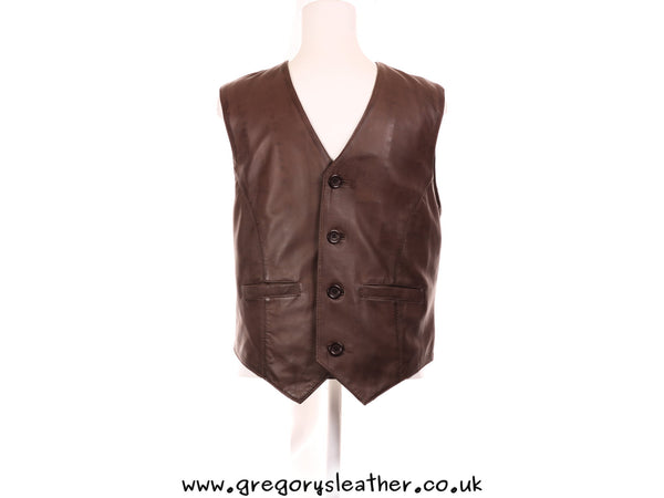 S/36 Medium Brown Leather Waist Coat by Ashwood