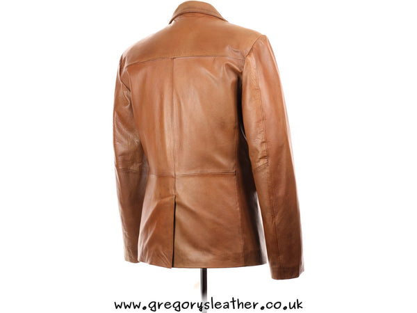 Tan Leather Two Button Blazer Style Jacket by Ashwood