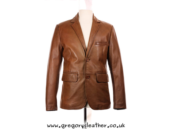 Small Tan Leather Two Button Blazer Style Jacket by Ashwood
