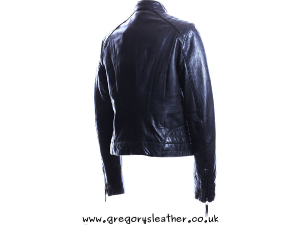 Black Leather Straight Zip No Colar Jacket by Ashwood