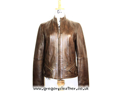 Brown Leather Jacket Straight Zip by Ashwood