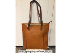 Cognac/Brown Askana Leather Twin Handle Tote Bag by Rowallan