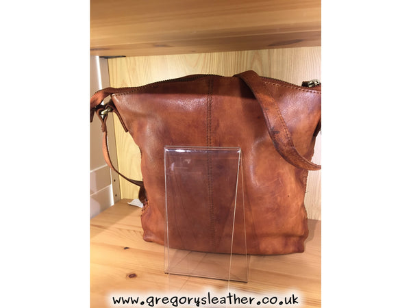 Tan Vintage Leather Cross Body Bag by Black Tree
